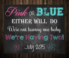Pregnancy Announcement for Twins Pregnancy by ChalkboardBaby