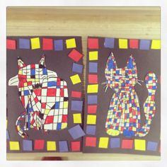 Primary colors & Mondrian animals: cats, afterschool class with artree (artreekids.com), fun art project for kids