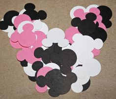 50 Pink White and Black Handpunched Mouse Ears by pattichic, $2.50. Perfect for any Minnie Mouse themed project from baby shower decorations, to accents for scrapbooks and frames. The possibilities are endless!