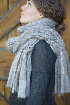 Chunky Knit Scarf Pure Alpaca Scarf With by BroadwickFibers