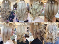 Shades of Blonde- Ash Blonde, Ivory Blonde, Vanilla Blonde, Beige Blonde, Pearl Blonde, Champagne Blonde, Honey Blonde, Platinum Blonde