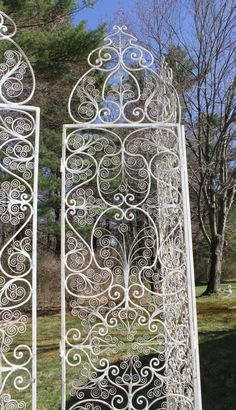 """ANTIQUE Hand Made WROUGHT IRON Room Divider Screens x4 White Large 84""""h. Art Deco on Etsy, $995.00"""