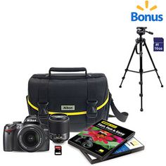 Nikon D3000 10.2 MP Digital SLR Camera Kit (includes bag and 8GB SD card) with Tripod and 16GB SD Card
