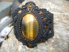 Купить Браслет с тигровым глазом - черный, макраме браслет, макраме украшения, плетеный браслет, браслет