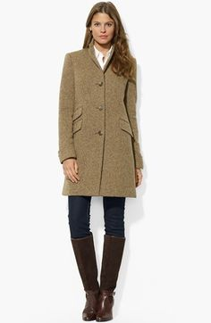 Lauren Ralph Lauren Wool Blend Twill Coat available at #Nordstrom