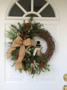 Christmas Wreath-Snowman Wreath-Whimsical by ReginasGarden on Etsy