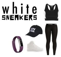 """Workout"" by ashgoins ❤ liked on Polyvore featuring Topshop, Ivy Park, Fitbit and whitesneakers"