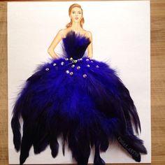 Blue feather dress by Edgar Artis