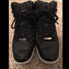Coach Hightop Sneakers Soft, rich leather and plush padding. Modern take on Coach style! These sneakers are a must. The bottom sole is actually a light grey - they're very clean in person. They are worn, but they're still in great condition. Coach Shoes Sneakers