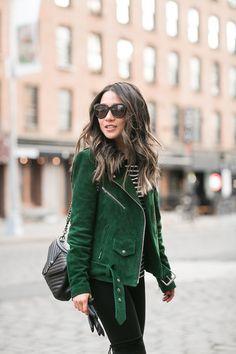Frozen :: Green suede jacket - wendy'slookbook