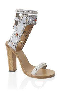 Isabel Marant Chalk Charlotte Elvis Sandal S/S 2013 Gladiator Sandals Heels, Studded Sandals, Open Toe Sandals, Ankle Strap Sandals, Ankle Straps, Womens Summer Shoes, Womens High Heels, Swarovski, Spring Sandals