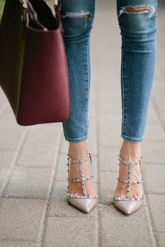 Jeans. Valentino Rockstud Shoes. Great handbag. = essentials