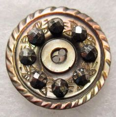 Gorgeous Antique Victorian Carved MOP Shell BUTTON w/ Gold Luster & Cut Steels