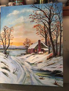 Landscape Art, Landscape Paintings, Painting Snow, Winter Painting, Bob Ross Paintings, Autumn Scenes, Painting Workshop, Winter Scenery, Painting Art