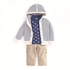 JoJo Maman Bebe - Outfit Boys' Sailboat Poloshirt, tan trousers chinos and stripe jumper. Little Ones, Jumper, Rain Jacket, Windbreaker, Raincoat, Outfit Ideas, Trousers, Sample Resume, Kids Fashion