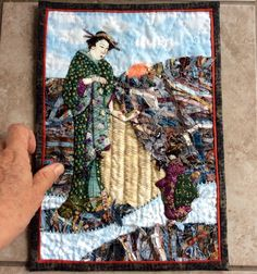 """""""Re-United"""" by Sue Stevenson. Hand quilted, embroidered and beaded. An A4 """"Luscious Little Layering"""" 2015. Hand Quilting, Layering, A4, The Unit, Painting, Hand Embroidery, Painting Art, Paintings, Painted Canvas"""