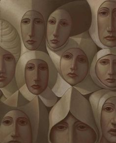 'The Meeting'45.5cm x 38cm by George Underwood, Oil on Board 45.5cm x 38cm