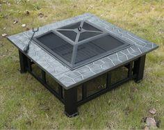 "Best Outdoor Metal FirePit 32"" Square Patio Backyard Wood Burning New Black #1"