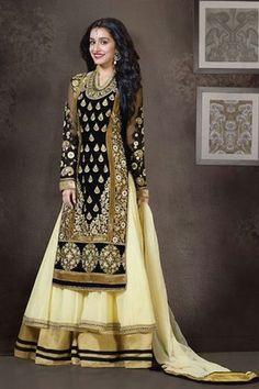 Shraddha Kapoor Georgette Black,Cream Suit