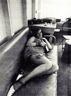 Janis Joplin backstage at Winterland.