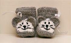 Mun Tekemä!: Virkatut hiiritossut -ohje Baby Knitting Patterns, Knitting Socks, Knit Crochet, Baby Shoes, Crafts, Baby Things, Crocheting, Slippers, Food