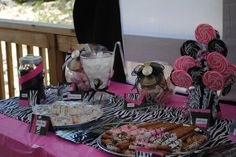 Create a zebra themed candy buffet for any zebra print party. Your guests will LOVE the sweet treats!