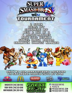 Come join us on March 26th at our Martinsburg, WV location for our spectacular Super Smash Bros tournament! There will be fun and prizes for Smash players of all skill levels! Tournament entry fee is $10 advanced, $15 at the door.  Address: 235 Kernstown Commons Blvd Winchester, Virginia 22602  Date & Time: March 26th at 5 PM  Rules: 2 Stock Items: Off Equipment: Off Best 2 out of 3 6 Minute Matches Move Sets: Default Stages: Omega Random Character Changes Allowed