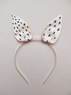 Bunny Hairband white with black dots., via Etsy. // claradeparis.com ♥