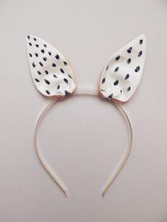 Bunny Hairband white with black dots., via Etsy. // claradeparis.com ♥