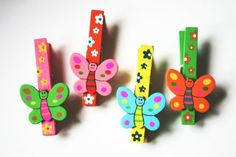 Colourful butterfly pegs x 4