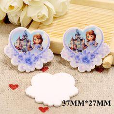 50pcs/lot 37MM*27MM Kawaii Cartoon Princess Flatback Resin Planar Rose Flower Heart Resins DIY Craft For Home Decorations DL171