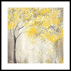 Yellow And Gray Tree Framed Print by Lourry Legarde