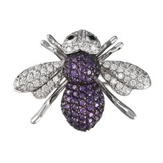 Zirconia Studded Bee Sterling Silver Pin/Pendant