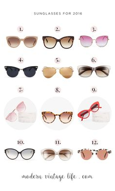 Choose from 12 sungl