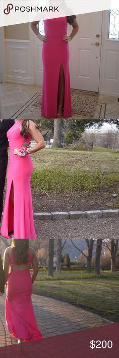 Sherri Hill Prom Dress **ONCE WORN** - vibrant pink color - Size: 4 - leg slit - open-back - Neckline: Halter - Length: long - Material: Jersey Sherri Hill Dresses Maxi
