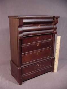 Antique mahogany Empire desk, with secret drawer, ca. early 1800's, salesman's sample, or doll size