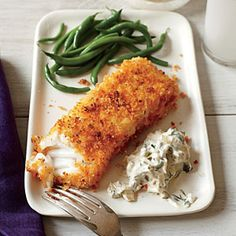 Crispy Fish with Lemon-Dill Sauce Recipe | MyRecipes.com