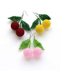 Beaded earrings Cherry earrings Fruit earrings Summer jewelry