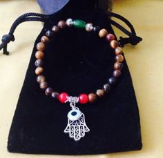 Hamsa Hand Tiger Eye Amulet Bracelet Yoga by TriquetraBoutique