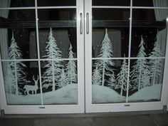Snowy forest doors by Window-Painting on DeviantArt Christmas Window Decorations, Christmas Window Display, Winter Christmas, Christmas Home, Christmas Window Paint, Box Decorations, Christmas Windows, Christmas Scenes, Christmas Images