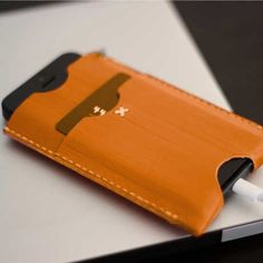 Leather iPhone Sleeve by Hand-Dyed Leather Wallets   MONOQI
