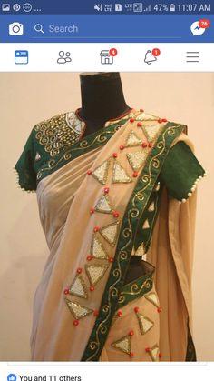 Beautiful Saree. Saree Blouse Neck Designs, Saree Blouse Patterns, Lace Saree, Saree Dress, Sari Design, Sleeves Designs For Dresses, Elegant Saree, Fancy Sarees, Saree Styles