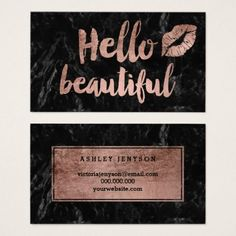 Hello beautiful lips rose gold script black marble business card - artists unique special customize presents Beautiful Lips, Hello Beautiful, Elegant Business Cards, Business Card Design, Schönheitssalon Design, Cosmetologist Gifts, Marble Price, Visiting Card Design, Makeup Artist Business Cards