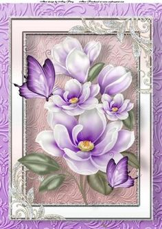 Beautiful Purple Flowers A4 on Craftsuprint designed by Amy Perry - Beautiful Purple Flowers A4 in lovely shimmer frame with butterflies, can also be seen in A5 - Now available for download!