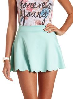Green High Waisted Skater Skirt 9.90