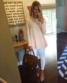 free people pullover sweater in blush pink with white cropped jeans and animal print flats - love this look for late summer and fall