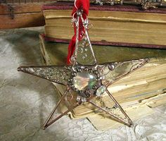 Stained glass Star Ornament textured clear glass mixed media art soldered art suncatcher. $24.00, via Etsy.