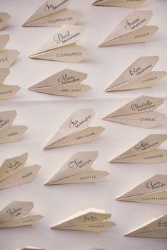 Name Decorations, Decoration Table, Wedding Decorations, Wedding Paper, Diy Wedding, Wedding Menu Cards, Wedding Themes, Paper Plane, Travel Themes
