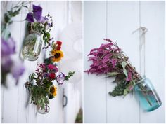 Love the wildflowers in the antique blue jars