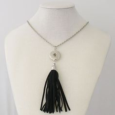 "1 Black Faux Suede Tassel Necklace - 33"" FITS 18MM Candy Snap Charm Jewelry Silver kb0253 CJ0116"